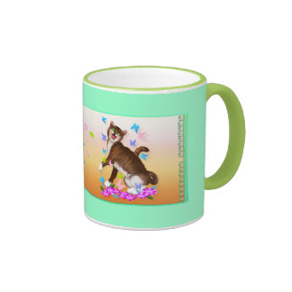 Happy Orange Cat and Soft Butterflies mug