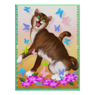 Happy Orange Cat and Soft Butterflies Poster