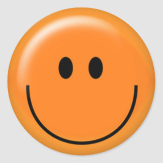 Happy orange smiley face classic round sticker