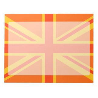 Happy Orange Union Jack British Flag Swag Notepad
