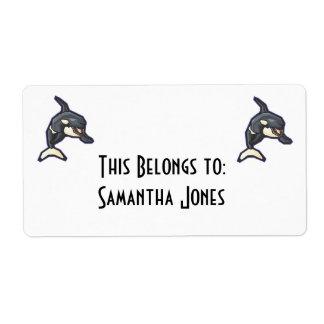 happy orca killer whale label