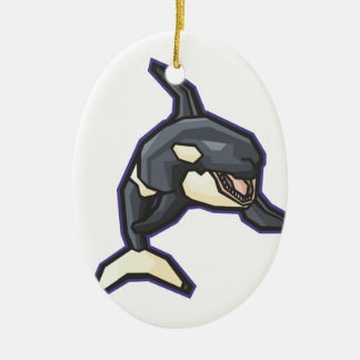 happy orca killer whale Double-Sided oval ceramic christmas ornament