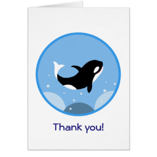 Happy Orca Killer Whale Thank you Greeting Card