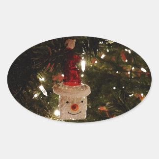 Happy Ornament Oval Sticker