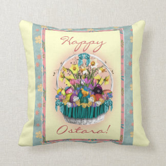 Happy Ostara Basket Decorative Pillow