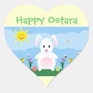 Happy Ostara Bunny Rabbit Heart Stickers
