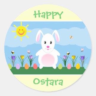Happy Ostara Bunny Rabbit Round Stickers