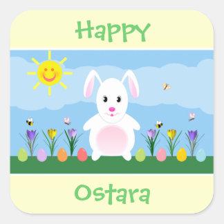 Happy Ostara Bunny Rabbit Square Stickers