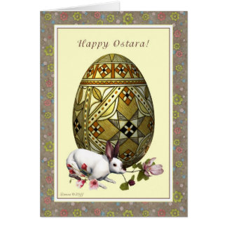 Happy Ostara - Egg Hare Flowers- Blank Note Card