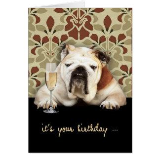 happy over the hill birthday, humor, bulldog card