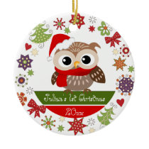 Happy Owl 1st Christmas Ornament