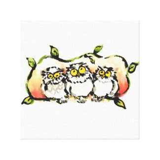 Happy owl brothers/the wax three sibling who is canvas print