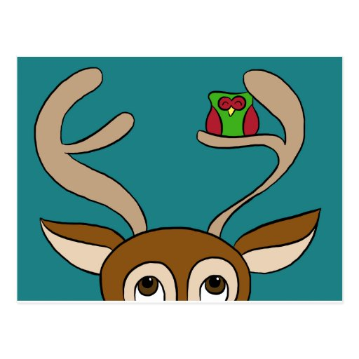 Happy Owl Finds Home with Reindeer Postcard
