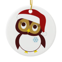 Happy Owl-idays Ceramic Ornament