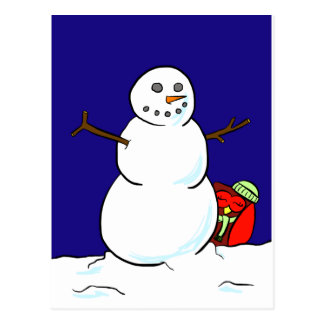 Happy Owl Makes a Snowman Postcard