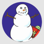 Happy Owl Makes a Snowman Stickers