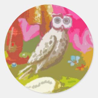 Happy Owl Round Stickers