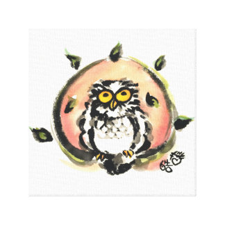 Happy owl/the wax which is wiped canvas print