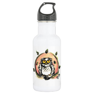 Happy owl/the wax which is wiped stainless steel water bottle
