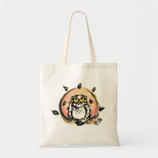 Happy owl/the wax which is wiped tote bag