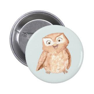 Happy Owl Watercolor Button