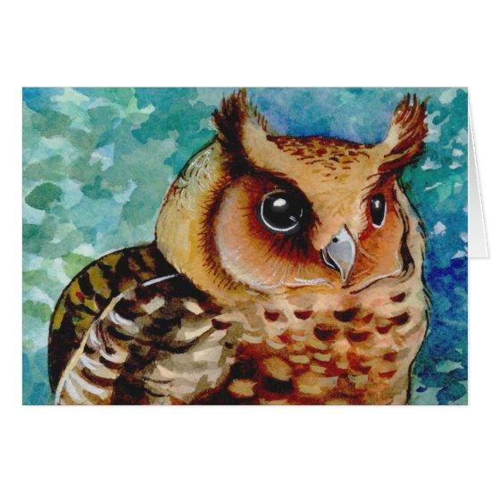 Happy Owl Watercolor Card