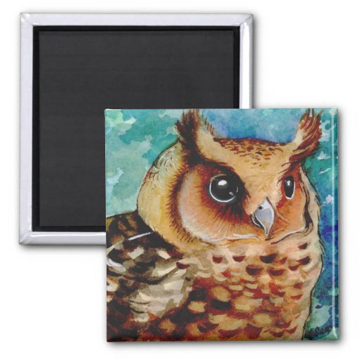 Happy Owl Watercolor Magnets