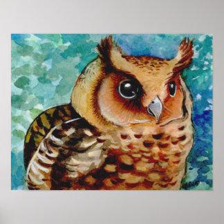 Happy Owl Watercolor Print