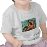 Happy Owl Watercolor Tee Shirts