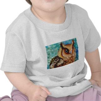 Happy Owl Watercolor Tee Shirts
