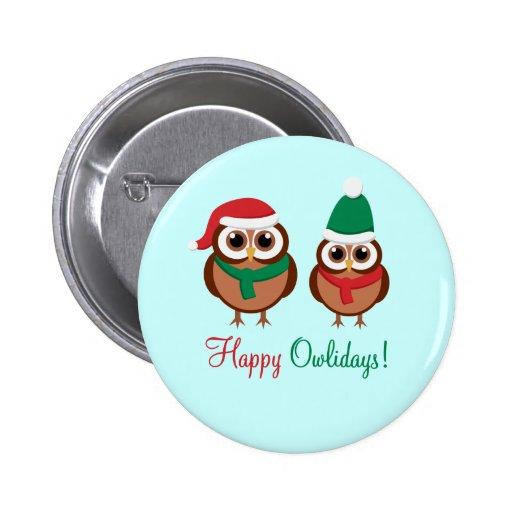 Happy Owlidays Buttons