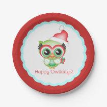 Happy Owlidays Christmas Santa Hat Holiday Owl Paper Plate