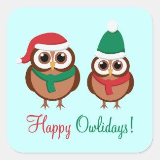 Happy Owlidays Square Sticker