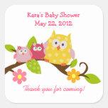 Happy Owls Baby Girls Twin Shower Sticker