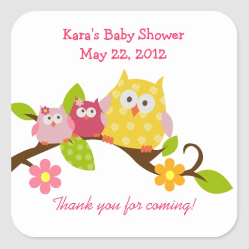 Happy Owls Baby Girls Twin Shower Sticker
