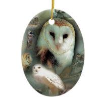 Happy Owls Ceramic Ornament