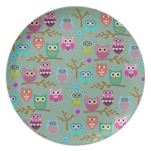 happy owls dinner plates