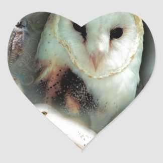 Happy Owls Heart Sticker