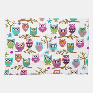 happy owls kitchen towels