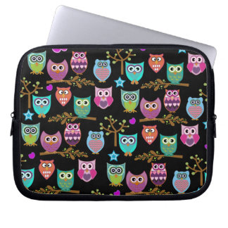 happy owls laptop computer sleeves