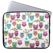 happy owls laptop sleeve