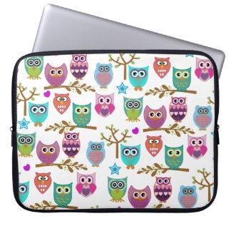 happy owls laptop computer sleeve