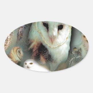 Happy Owls Oval Sticker
