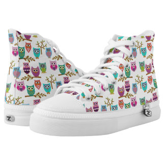 happy owls printed shoes