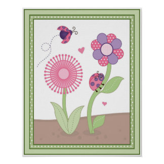 Happy Owls Series - Ladybugs and Flowers Girls Art Poster