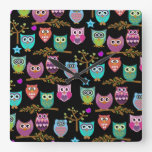 happy owls square wall clock
