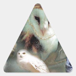 Happy Owls Triangle Sticker