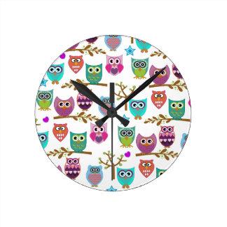 happy owls wall clocks