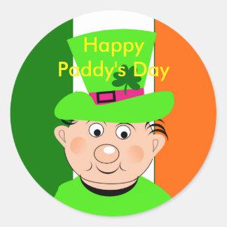 Happy Paddy's Day Cute Leprechaun Classic Round Sticker