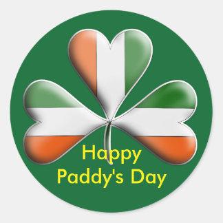 Happy Paddy's Day Irish Shamrock Classic Round Sticker